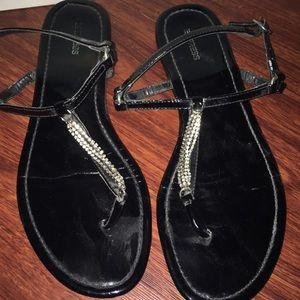 Express Black Patent Rhinestone Strappy Sandals